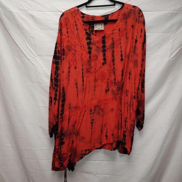 Tie Dye Drawstring Blouse Red