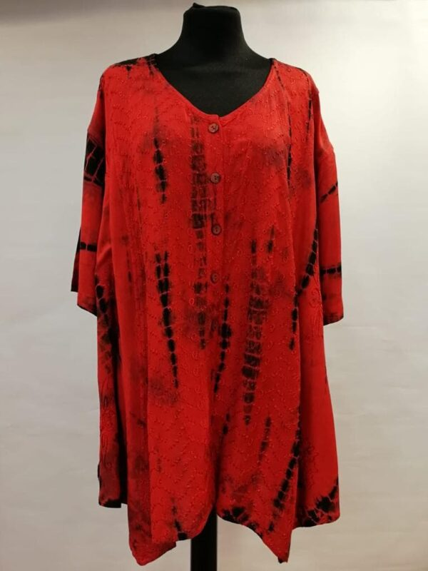 Tie Dye Short Sleeve Blouse Red