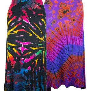 Tie Dye Skirt Black Rainbow