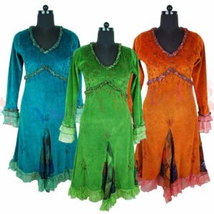 Velvet Dresses Blue Green Orange