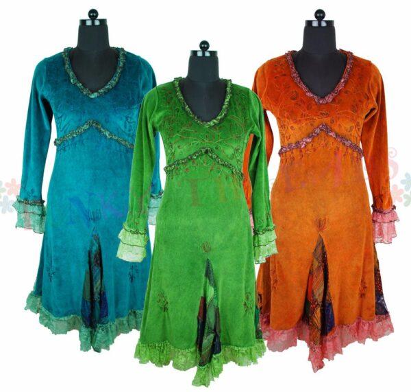 Velvet Dresses Blue Green Orange