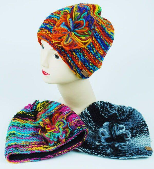 Woollen Flower Hat Hippy
