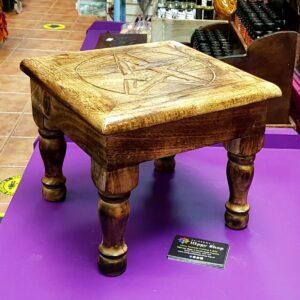 Carved Wooden Altar Table Pentagram side view Fair Trade
