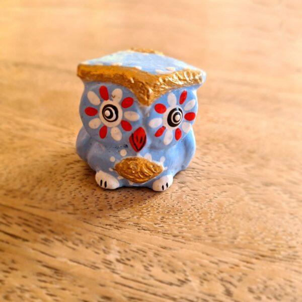 Mini Wooden Owl Blue